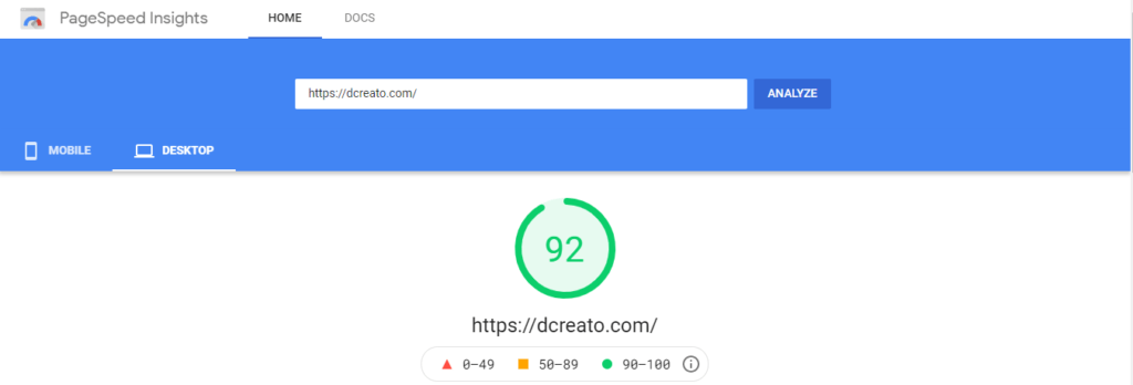 dcreato page speed